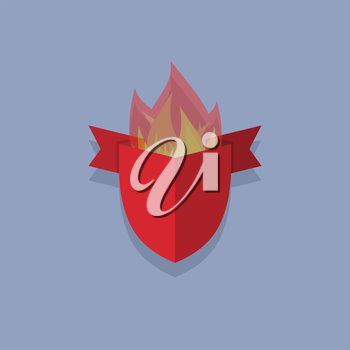 shields with fire. element heraldic