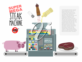 Super mega steak machine. Manufacturing system for release of meat. No need to fry in a pan. Fill with oil, salt and pepper. Manufacture of fried pieces of meat from pigs. Concept of automated mechani
