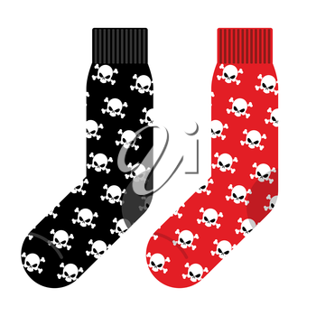 Black and Red socks with skull. Vector illustration accessories clothing for Halloween