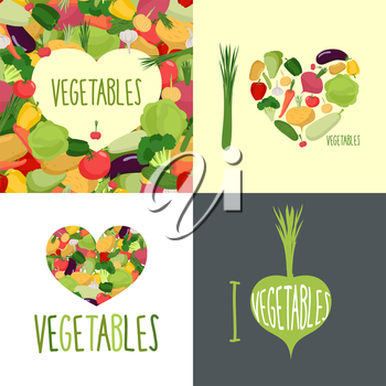 I love vegetables. Set of logos for food lovers. Symbol heart of vegetables: cabbage, onions, and potatoes. Logos for vegetarians.