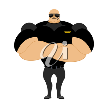 Big and strong security guard. Man with big muscles. Security guard nightclub. Athlete with big muscles in black t-shirt.