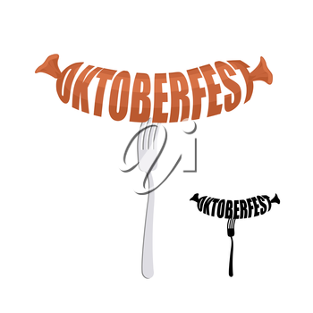 Oktoberfest. Text in form of sausages on a fork. Vector emblem for a Beer Festival.