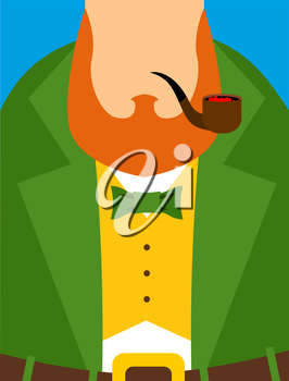 Leprechaun in yellow vest. Green old frock coat. Pipe and a large Red Beard. Illustration for the Irish holiday St. Patrick's day.