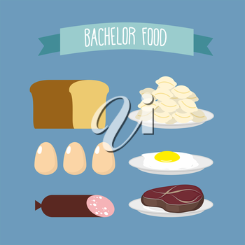 Bachelor food. Set of products for food unmarried men: meat, eggs, and meat dumplings. Vector illustration