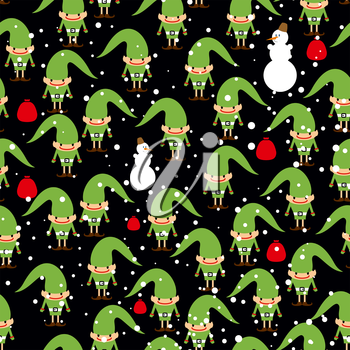 Elf Santas helper seamless background. Feast of texture. Snowman bag with gifts and texture.