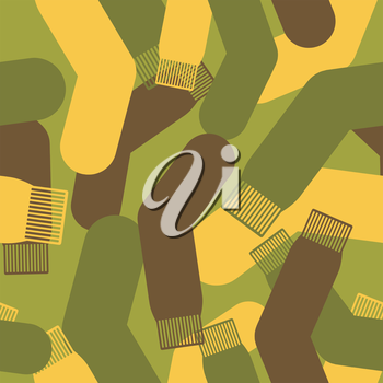 Army pattern of socks. Military Vector texture camouflage sock. Soldier protective seamless pattern.