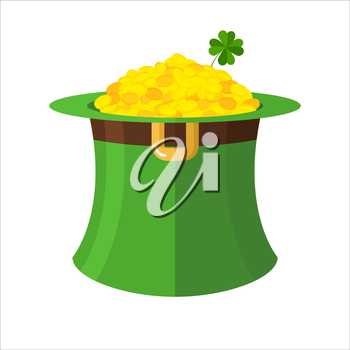 Leprechaun hat and gold. Green Hat Topper and many gold coins. Fairy Treasure leprechauns little dwarf. Illustration for  feast of St. Patrick in Ireland