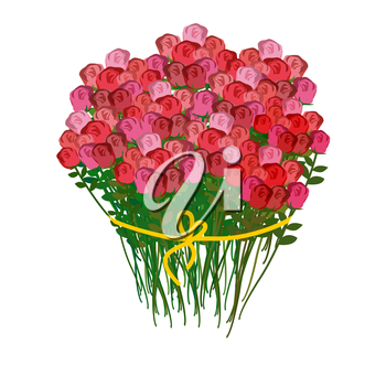 Bouquet of roses and a white background. Huge bouquet of red flowers. 100 pieces of roses. Vector illustration