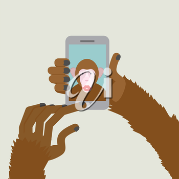 Monkey makes selfie. Animal clicks to your Smartphone with your fingers. African animal photographs themselves. Vector illustration.