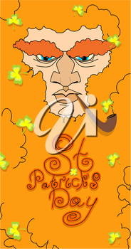 St. Patrick's Day greeting card, poster. Leprechaun with a beard