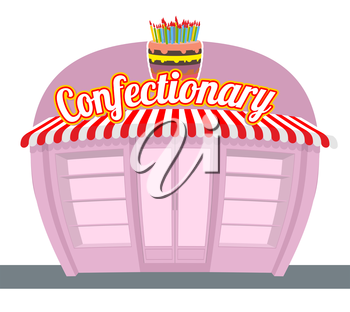 Confectionary shop. Sweets shop. Signage celebratory cake. Fun sweets and cakes bakery in  rear. Confectionary showcase.
