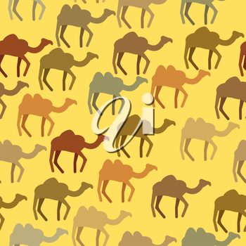 Camels seamless pattern. Background of desert animals. Vector ornament.