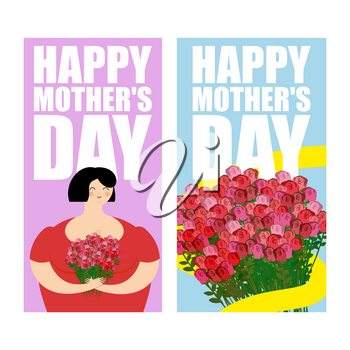 Happy Mothers Day greeting card set. large bouquet of red roses with yellow ribbon. Lovely woman and  lot of flowers as gift. Collection of posters for holiday