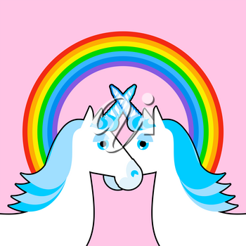 Blue unicorn and rainbow. Symbol of  LGBT community. Fantastic animal gay character. Pink sky and mythical creature
