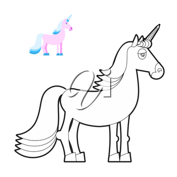 Unicorn coloring book. Fantastic animal in linear style. Fabulous beast. Mythical creature with horn for kids coloring