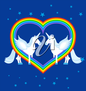 Two blue unicorn and rainbow in heart shape. Fantastic animals on blue sky. LGBT sign. Fabulous beast gay character