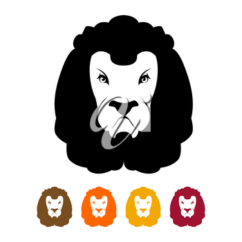 Lion head silhouette. Predator Much to mane. Ferocious wild animal emblem flat style