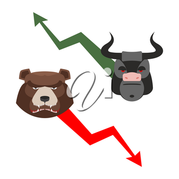 Bull and bear. Traders allegory. Green up arrow-increase shares. Red down arrow drop quotes. Angry bear and a ferocious Bull. Set of icons for Exchange players