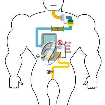 Artificial digestive tract. Digestion person. Throat and stomach. Pipes and tanks. Gates and devices. processing system. Treatment  mechanism. Valves and pipes. Sensors and tank. Device with screen an