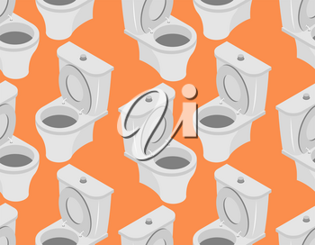 Toilet seamless pattern. Accessory to toilet ornament on an orange background