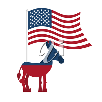 Donkey Democrat. Symbol of political party in America. Political illustration for elections in America. USA Flag. Donkey isolated. Donkey Democrat on white background