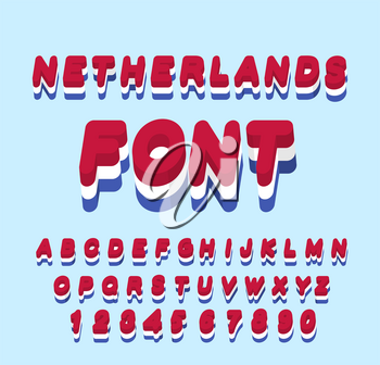 Netherlands font. Dutch flag onletters. National Patriotic alphabet. 3d letter. State color symbolism European state