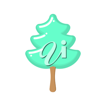 Christmas tree ice cream pistachio. Popsicle on stick in form of green fir-tree. Sweets for Christmas. Dessert for new year
