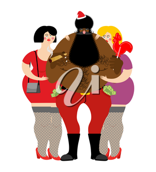 Bad Black Santa with beer and cigar. African American Santa Claus and prostitutes. Drunk grandfather and two sexy girls. money in pocket. drink away earnings. Christmas bully and whores. New Year cele