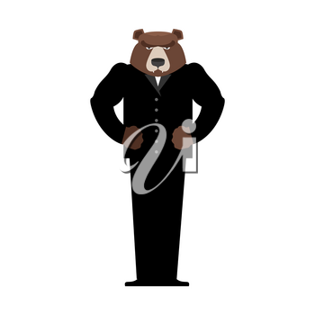 Bear Manager businessman in suit. Wild animal people. Forest predator in human clothes