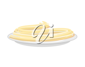 Pasta on plate isolated. Spaghetti on dish. on white background