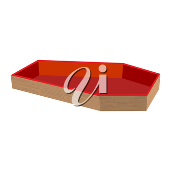 Wooden coffin open. casket empty. Religious object on white background. Red upholstery