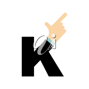 K letter hand. Forefinger lettering. Hand of business suit