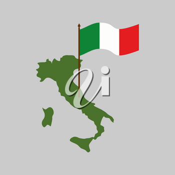 Italy map and flag. Geography Italian state isolated