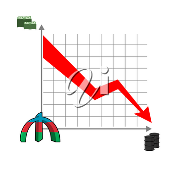 Azerbaijani manat money falls. Falling of rate of manat. Red down arrow. Reducing cost of oil. Schedule of fall of national currency in Azerbaijan. Barrels of oil. Graph fall for business presentation