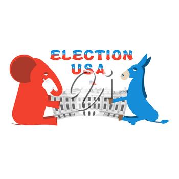 Elephant and Donkey divide White house. Republicans and Democrats share authority. Political presidential elections in United States. Government Building America