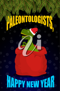 New year Paleontologists . Dinosaur T- rex in red sack Santa Claus. Tyrannosaurus congratulates on Christmas. Prehistoric predator. Big bag with gifts