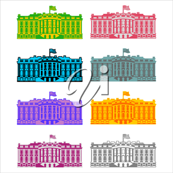 White House America colored icon set. Residence of President USA. US government building. American political character. Main attraction washington dc. patriotic mansion United States