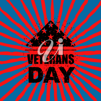 Veterans Day in USA. Flag America folded in triangle symbol of mourning. National sign of United States of sorrow. Emblem in grunge style for patriotic holiday