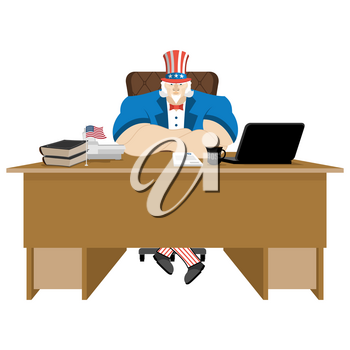 American patriot boss. Uncle Sam sitting in office. Businessman from United States at table. Workplace supervisor. Director desktop. Laptop and phone. Cup of coffee and Chair. Flag USA