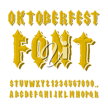 Oktoberfest font. Ancient Gothic alphabet. Vintage typography. Old letters. ABC for national holiday in Germany