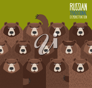 Russian national demonstration.  Bears came out on strike.