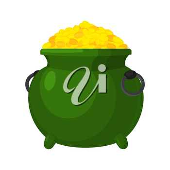 Leprechaun pot gold isolated. bowler golded coins. Legendary treasures for lucky. St.Patrick 's Day. Holiday in Ireland