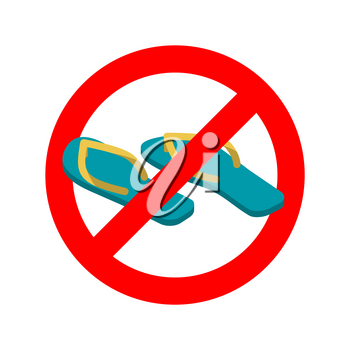 Stop slippers. Ban summer shoes. Red traffic sign not allowed
