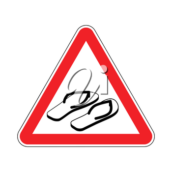 Attention slippers. Caution beach shoes. Red triangle road sign