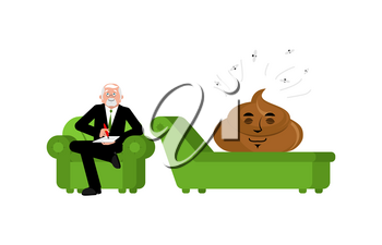 Shit at reception with psychologist. Consultation of psychotherapist. Turd on couch