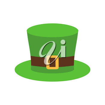 Leprechaun Hat green isolated. National Irish retro cap for dwarf. Illustration for St. Patricks Day. Holiday in Ireland