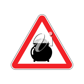 Attention leprechaun gold. Pot of golden coins on red triangle. Road sign Caution for holiday in Ireland. St.Patricks Day