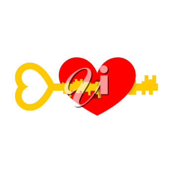 Key from heart. Illustration for Valentines Day