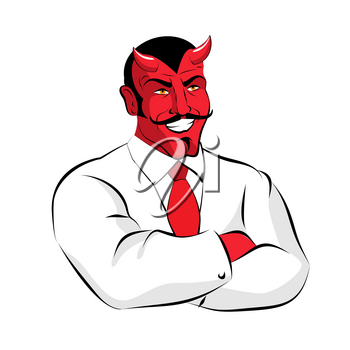 Satan boss. Devil businessman in white suit. Red demon with horns