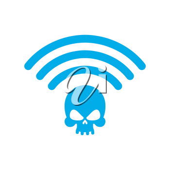 Wi-fi death. WiFi mortal. Wireless connection skull. Passing doom. demise at distance